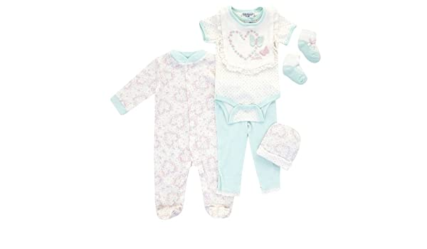 d2c5c888f Kyle & Deena - Six Piece Floral Baby Clothes Set - 3-6 MTHS: Amazon.co.uk:  Clothing