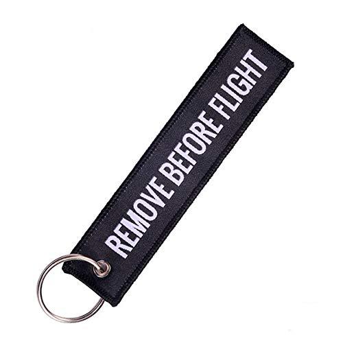 QZHE Schlüsselkette Entfernen Sie Vor Dem Flug Keychain Trendy Keyring Stickerei Polyester Stoff Key Protector Commemorative Key Chains - A2 Leder-flug