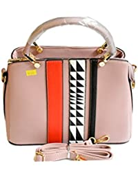 KB Trader Women's Designer Multi-colour Synthetic Leather Handbag Peach(Orange Strips) KB-002