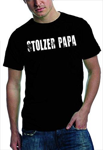 Stolzer Papa - T Shirt | Papa-Shirt für stolze Väter | vintage Print - verschieden Farben Black