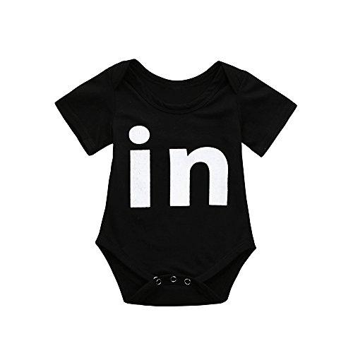 Kobay Neugeborenes Baby Jungen Mädchen Bodysuit Twins Strampler Spielanzug Outfits Kleidung(3-6M,Schwarz)