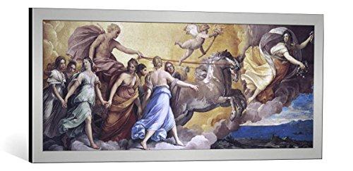 """Quadro con cornice: Guido Reni """"Aurora"""" - stampa artistica decorativa, cornice di alta qualità, 100x40 cm, Argento spazzolato"""