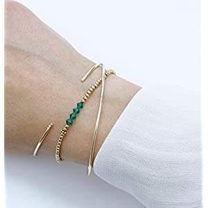Armbänder Set, Gold-Grün