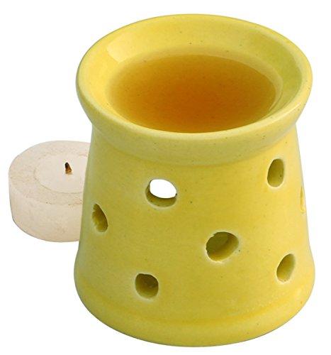 Aroma Diffusor öl - 7.6 cm Gelb Keramik Teelichthalter - Handgefertigte Essential Oil Wärmer Brenner (Wärmer Brenner)