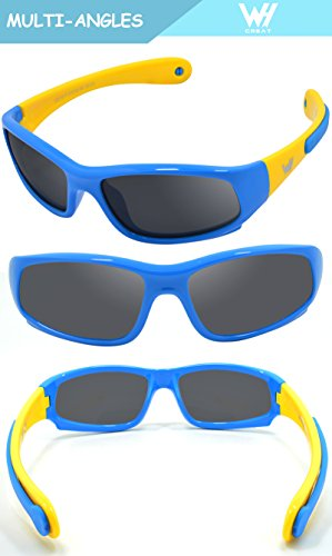 c02878d854 Kids Wrap Sport Polarized Sunglasses by WHCREAT Flexible Rubber Frame with  Anti-slip Band for Girls Boys Children Age 3-6 - Blue Yellow Frame Black  Lens ...