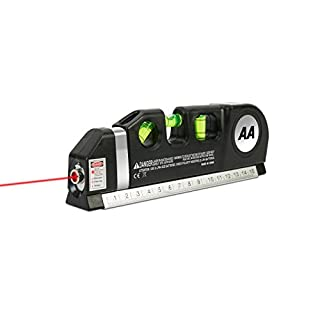 AA Laser Level with Built-in Tape Measure - 2.5m/8ft Measuring Tape - Multipurpose 3-in-1 Tape Ruler, Measuring Tape, Bubble Levels, and Laser Level