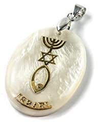 Nacre étoile de David Judaïsme Menorah Pendentif Poisson Faite à la Main Nazareth