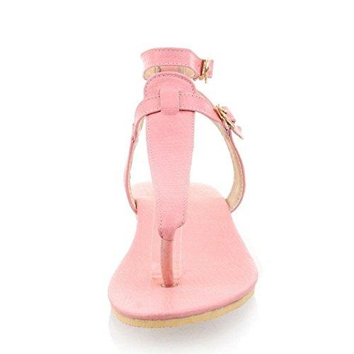 TAOFFEN Damen Fashion T-Spange Flip Flops Flach Strand Sandals mit Schnalle 771 Rosa