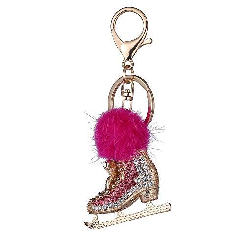 DYEWD Cristal Chaussures Voiture clé Boucle/Alliage de Zinc Trousseau/Cadeau de la personnalité créative Cadeau/décoration de Bijoux, Mae Red
