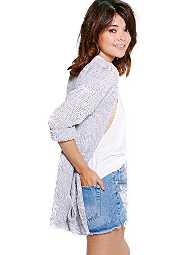 Argent Femmes ambre Loose Knit Slouchy Pocket Cardigan Argent