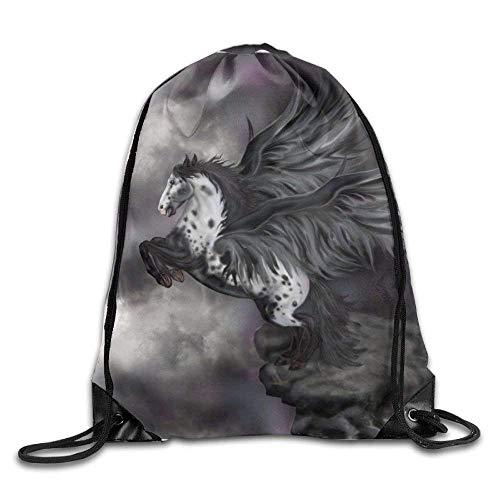 SOOPTY Unisex Dream Flying Horse Print Drawstring Backpack Rucksack Shoulder Bags Gym Bag Sport Bag -