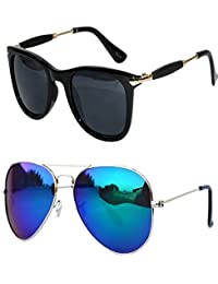 Y&S UV Protected Stylish Aviator Wayfarer Combo Of Blue And Black Mercury Mirrored Sunglasses Goggles For Girls...
