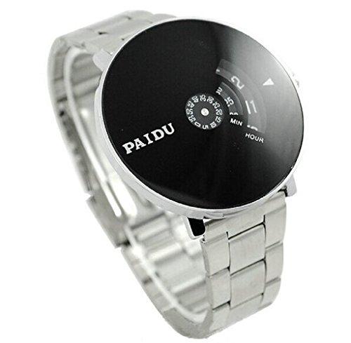 reloj de los hombres, FEITONG pulsera de plata de acero pagó u Cuarzo reloj de pulsera de los hombres de marcado de la placa giratoria negro es un regalo