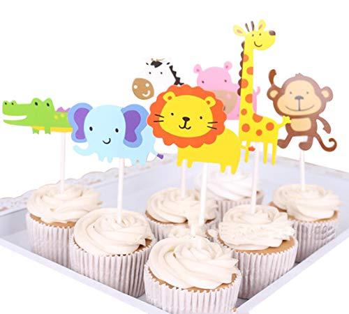 (Tortenaufsatz Giraffe Elefant Löwe Tier Happy Birthday Twinkle DIY Glitzer 1. Geburtstag Cupcake Topper Cake Smash Candle Alternative Party Handarbeit)