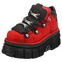 New Rock Half Boot Tower Unisex Platform Shoes in Red Black - 7 UK M - 6.5 UK W