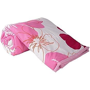 Kuber IndustriesTM Flower Print Reversible Poly Cotton Single Bed AC Blanket/Dohar (Pink) (Code-DOH01)