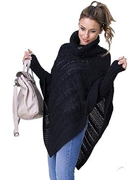 Glamour Empire. Poncho de Ochos Capa Jersey de Punto con Cuello Vuelto. 968
