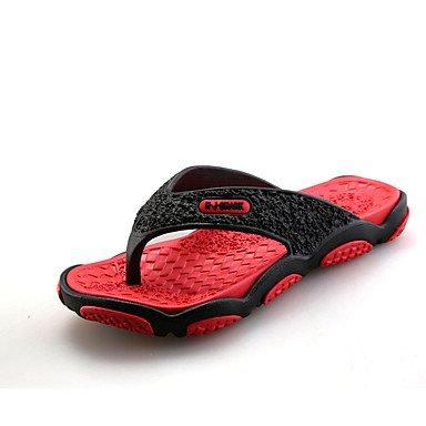 Slippers & amp da uomo;Primavera Autunno Comfort PU esterna del tacco piatto Lace-up Blu Verde Rosso Grigio San sandali US8 / EU40 / UK7 / CN41