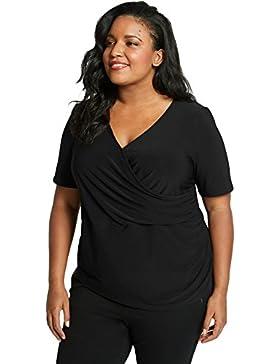 Camiseta de manga corta negra con diseño de blusa en la parte superior de la camiseta para fiesta, estilo informal...