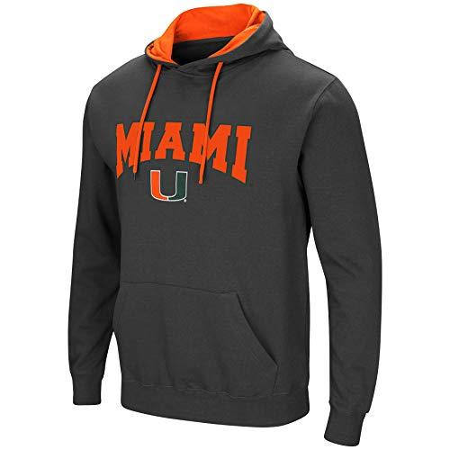 Colosseum Herren NCAA-Scoreboard-Dual Blend-Fleece Kapuzenpullover Sweatshirt mit Tackle Twill Bestickt Teamname und Logo, Anthrazit, Herren, Miami Hurricanes, X-Large