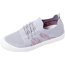 iZZB Chaussures Casual Filles Sneakers Alpinisme Dame Baskets en Cours D'exécution Femme Chaussures de Sports Poids Léger 2019 (Gris, 37 EU)
