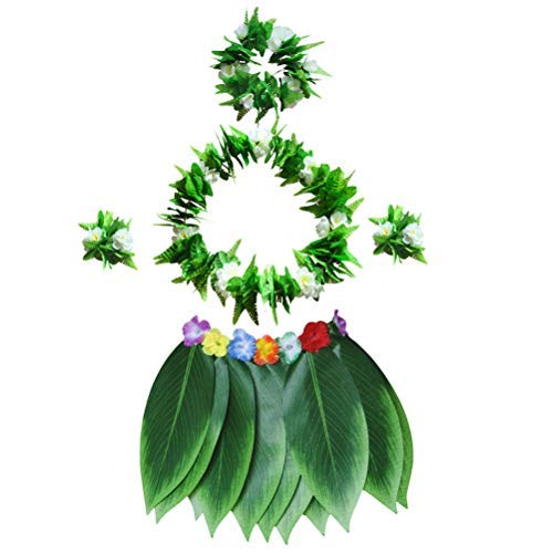 Daunenjacke Baumwollmantel Prinzessinkleid Amosfun 5 Teile/Satz Blatt Hula Rock und Halskette Armband Set Hawaiian Phantasie Kleid Kostüm Set Sommer Beach Party Favors (Bunte) Frühjahr große Cute (Kostüm Für Fünf Jährige)