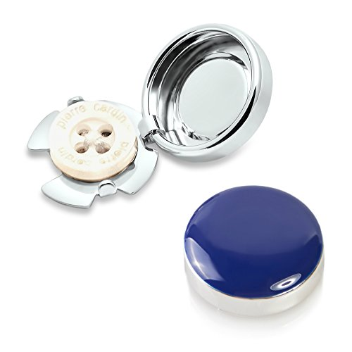 Copri Bottoni Blu Scuro - L'Alternativa ai Gemelli per Camice Normali (Piccolo - (Polsino Del Papà Gemelli)