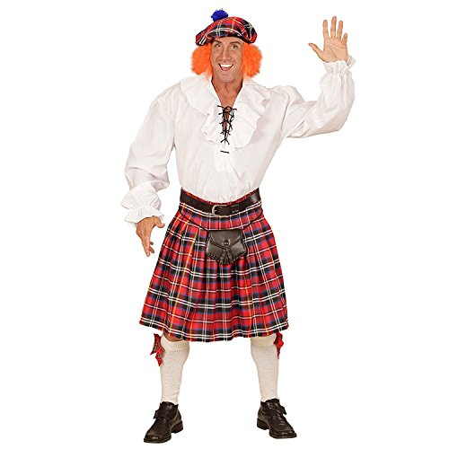 Mens Scottish National Scots Tartan Kilt (Adjustable) with Tam Hat with attached Ginger Hair Wig