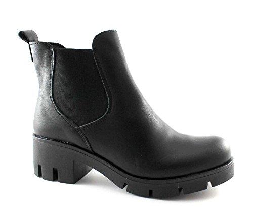 Divine Follie 17812u Noir Chaussures Femme Beatles Bottine Black Micro Sole