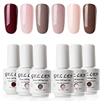 Gellen Nude Colour Gel Polish Kit - 8ml 6 Colours Gel Nail Polish UV LED Soak off Manicure Gel Lacquer Set
