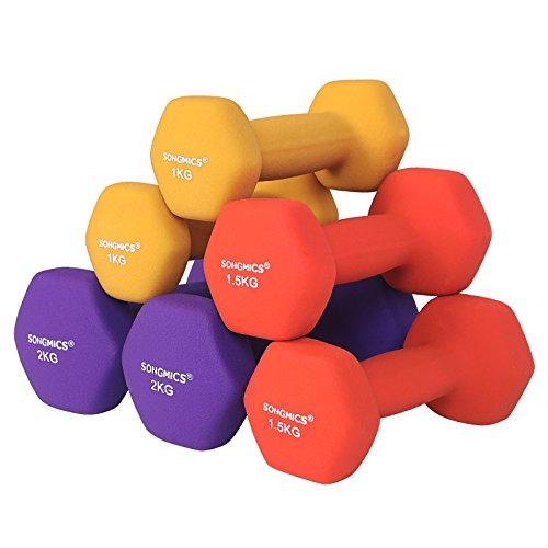 SONGMICS 3-Sets Hantel Set 1 kg, 1,5 kg, 2 kg Gymnastikhantel gratis Hantelständer in verschiedenen Gewichts- und Farbvarianten gegen Schweiß und Feuchtigkeit matt SYL69BK - 2