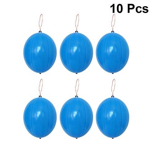 Toyvian 10 stücke Punsch Ballon Spaß Neon Punch Balls mit Gummiband Griff für Kinder Neon Spielzeug Hochzeit Geburtstag Party Decor (Blau)