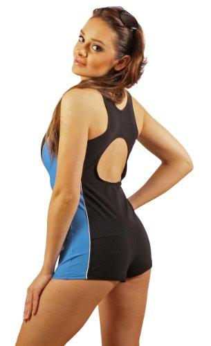 Damen Badeanzug mit Bein Schwimmanzug Hotpants mit Schwimmerrücken SK0028 Blau