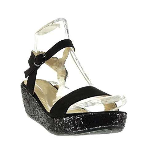 Angkorly Chaussures Mode Sandales Mules Wedges Femme String Paillette Shiny Wedge Heel Platform 6 Cm Noir