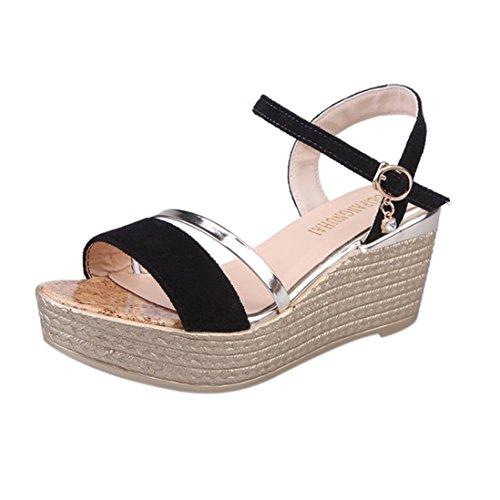 Vovotrade Hot Sale été sandales Muffin Poisson Tête Femmes Plates Formes Sandales Simples Secoué Noir