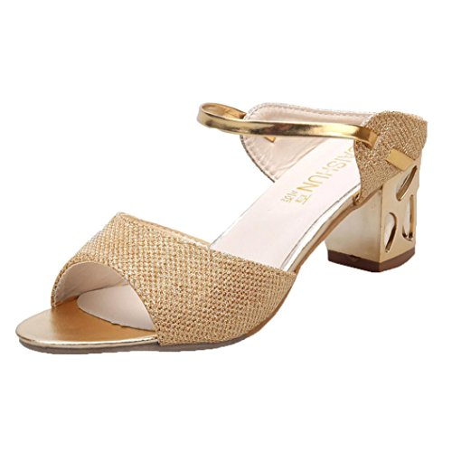 Mulheres Saingace Verão Ásperas Sandálias Abertas Toe Boca De Peixe Sapatos De Salto Alto De Ouro Confortável