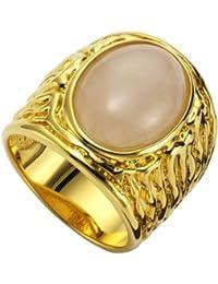 ZEEme Damen-Ring Messing Rosenquarz Cabochon vergoldet 360070415V-1
