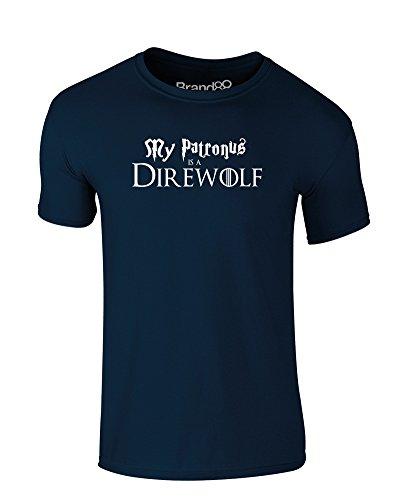 My Patronus is a Direwolf, Kind-druckten T-Shirt - Dunkelblau/Weiß 12-13 Jahre