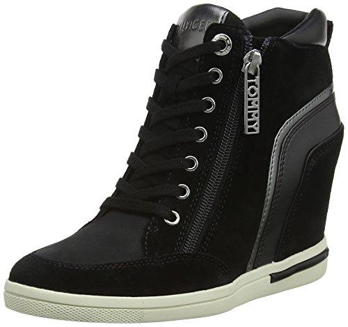Tommy Hilfiger Damen MID Wedge Sneaker, Schwarz (Black 990), 39 EU
