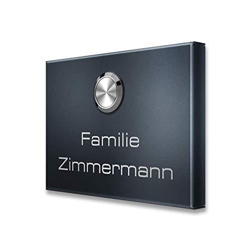 Kabellose Funkklingel aus Edelstahl Anthrazit - rostfreier V2A Edelstahl - Gravur Familien-Name - wasserdicht mit Batterie (3 Empfänger)