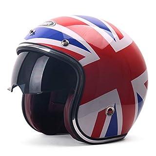 YEMA Motorradhelm -6629 Vier Jahreszeiten MäNner Und Frauen Halber Helm Mit Linse FüR Harley PersöNlichkeit Vintage Helm,Flags-(54-61cm)
