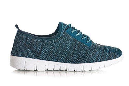 Scarpe da ginnastica casual da donna stile retrò, con lacci, colore nero/navy/grigio Turquoise