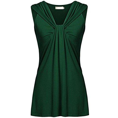 �rmellos V-Ausschnitt Plus Größe Reine Farbe Ärmellos Geraffte Tops Freizeit T Shirt Oberteile Bluse(XL,Grün) ()