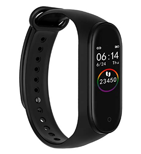 Mobican Mi Compatible M4 Smart Band Fitness Tracker Watch Heart Rate with Activity Tracker Waterproof Body Functions Like Steps Counter, Calorie Counter, Blood Pressure, Heart Rate Monitor OLED Touchscreen (M4)