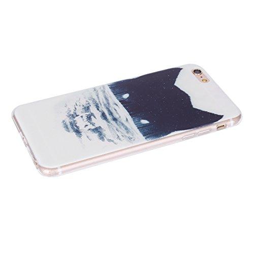 Coque pour iPhone 6 Plus, Etui pour iPhone 6S Plus, ISAKEN Peinture Style Transparente Ultra Mince Souple TPU Silicone Etui Housse de Protection Coque Étui Case Cover pour Apple iPhone 6 Plus / iPhone Forêt Loup