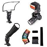 Fomito Universal Flash Reflector Difusor + 12 piezas flash Color Gel Kit De Filtro