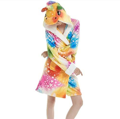 YISHU Erwachsene Einhorn Bademantel mit Kapuze Tier Kostüm Badetuch Kapuzenhandtuch Schlafanzug Nachtwäsche für Damen Herren Muster-B M