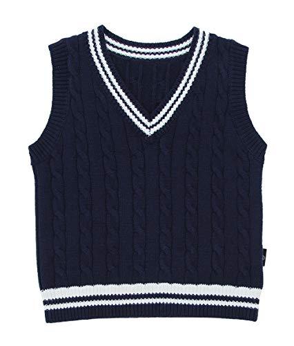 Eozy Kinder Jungen V-Ausschnitt Strickweste Streifen Pullover Weste Top Dunkelblau Größe 100