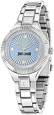 Just Cavalli Just Indie Mujer Reloj De Cuarzo Con Esfera Analógica Azul Pantalla y Correa de Acero Inoxidable Plateado r7253215504