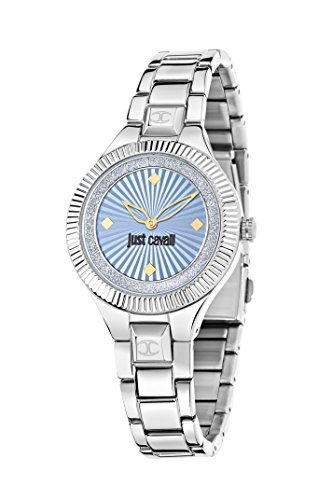 Just Cavalli Just Indie Women's Quartz Watch with Blue Dial Analogue Display and Silver Stainless Steel Strap R7253215504